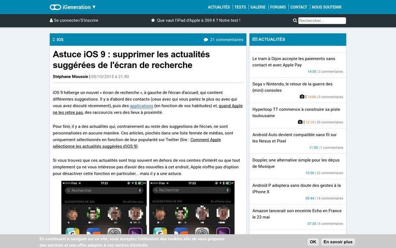 Astuce iOS 9 : supprimer les actualités suggérées de l'écran de recherche | iGeneration