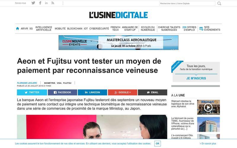 L'Usine Digitale : Aeon et Fujitsu vont tester un moyen de paiement par reconnaissance veineuse